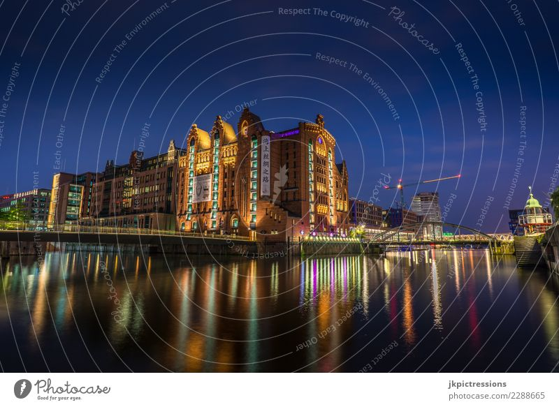 Speicherstadt International Maritime Museum Hamburg River Town Architecture Vacation & Travel Europe Bridge Manmade structures Night Appearance Quarter Blue