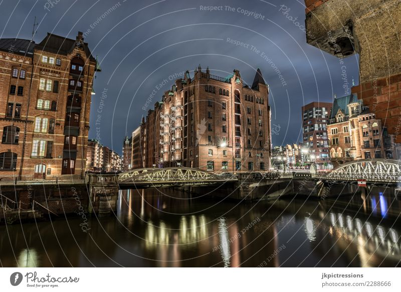 Hamburg Speicherstadt at night River Town Architecture Vacation & Travel Europe Bridge Manmade structures Night Appearance Quarter Gray Channel