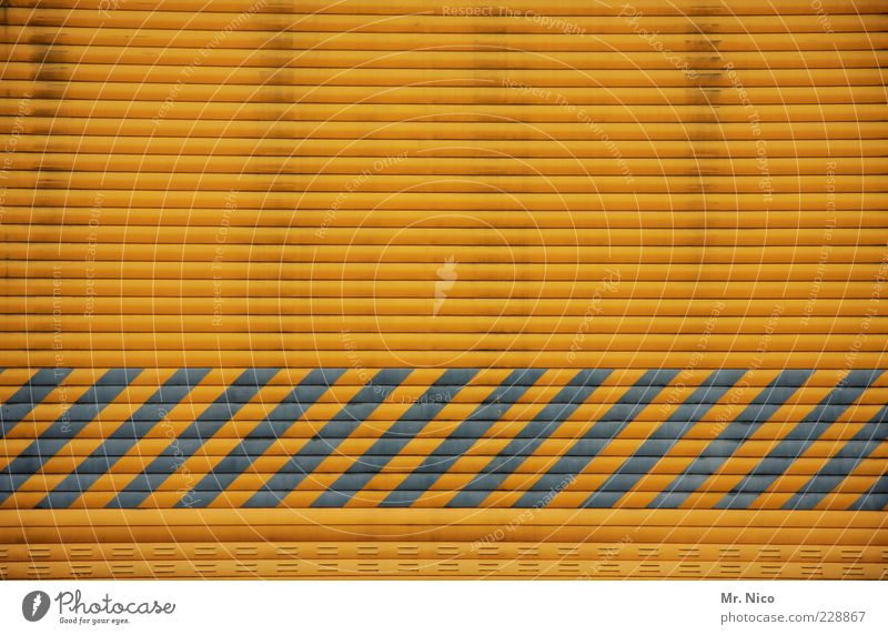 Yellow Building Background picture Closed Industry Stripe Sign Gate Warehouse Trade Hall Striped Delivery Highway ramp (entrance) Roller blind Door