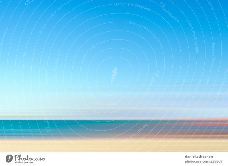Sky Blue Summer Ocean Beach Far-off places Coast Waves Horizon Island Blue sky Cloudless sky