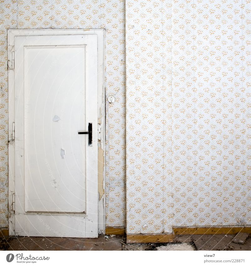 Look out in it :: Wallpaper Room Wall (barrier) Wall (building) Door Wood Ornament Line Old Authentic Retro Cliche Gloomy Orderliness Poverty Esthetic Design