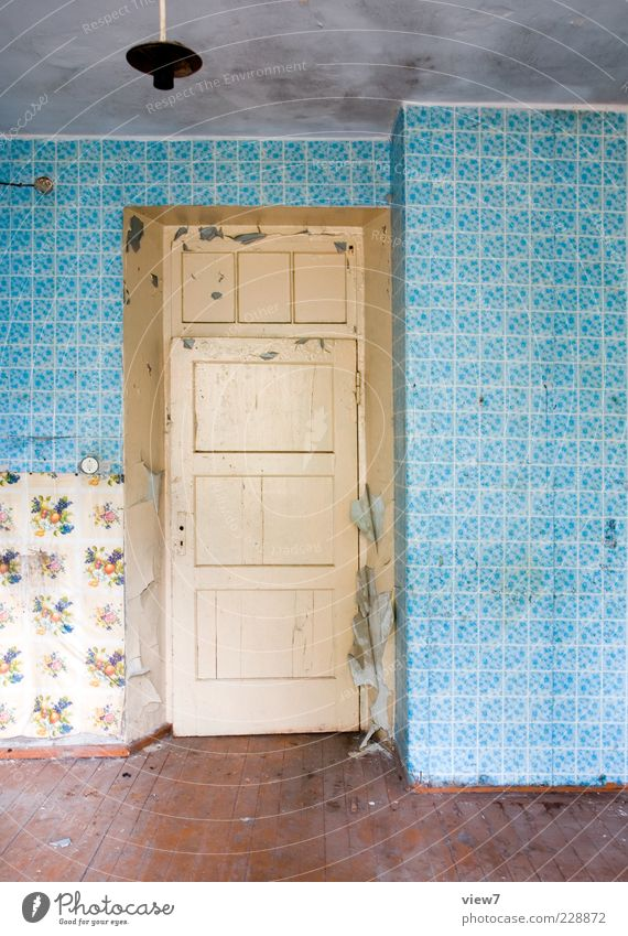 look out in :: Decoration Wallpaper Room Wall (barrier) Wall (building) Door Concrete Wood Ornament Old Authentic Simple Broken Retro Trashy Gloomy Blue