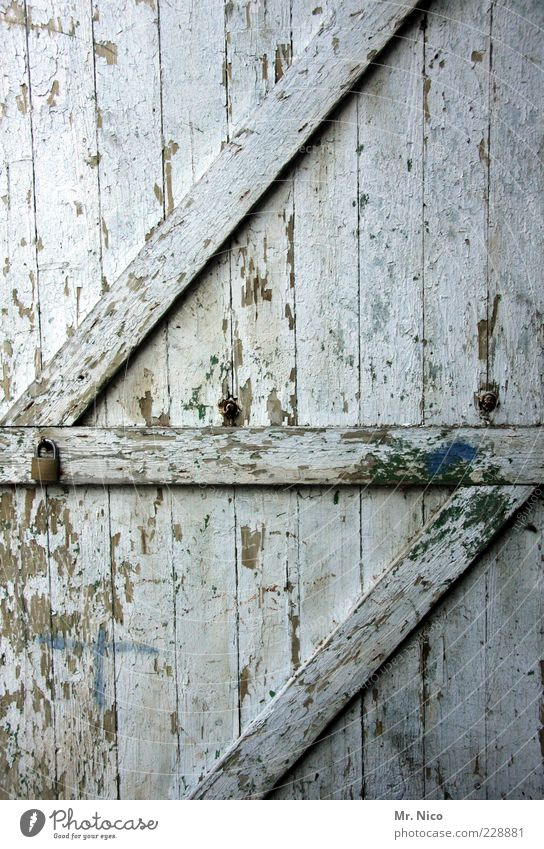Old White Wood Door Dirty Broken Transience Manmade structures Derelict Hut Ruin Wooden board Ancient Copy Space Barn Chopping board