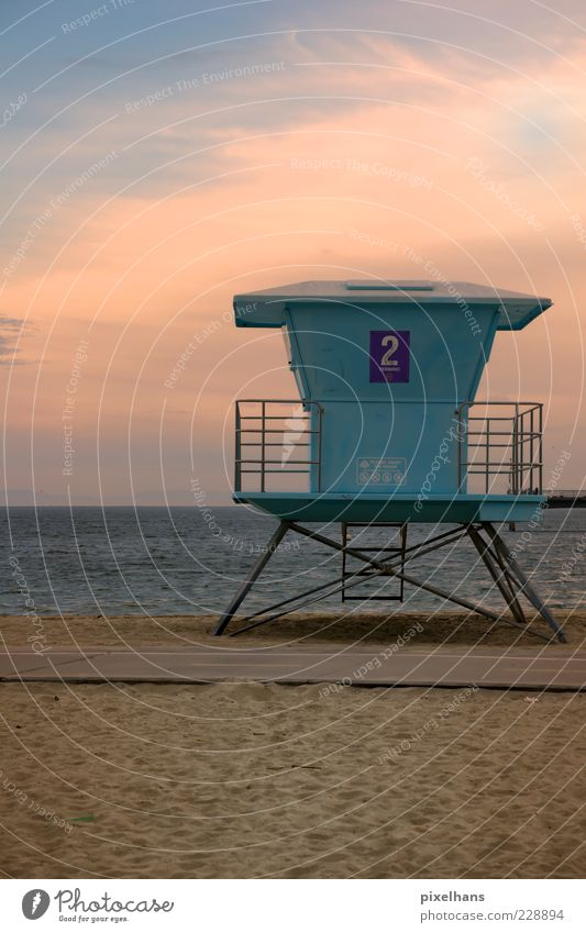 rescue tower Summer Sun Beach Ocean Waves Landscape Sand Water Sky Horizon Sunrise Sunset Beautiful weather Warmth Coast Long Beach California North America