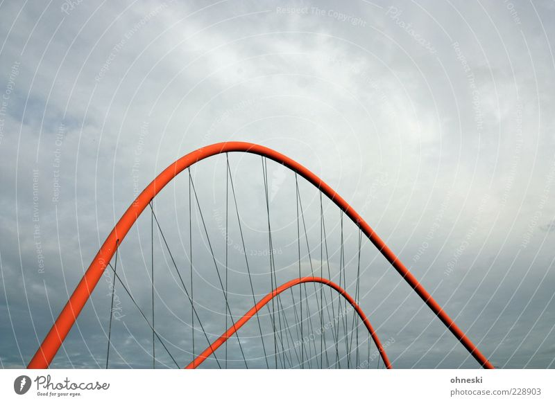 Red Clouds Architecture Gray Weather Bridge Manmade structures Steel cable Connection Bad weather Storm clouds Curved Suspension bridge Bridge pier Gray clouds