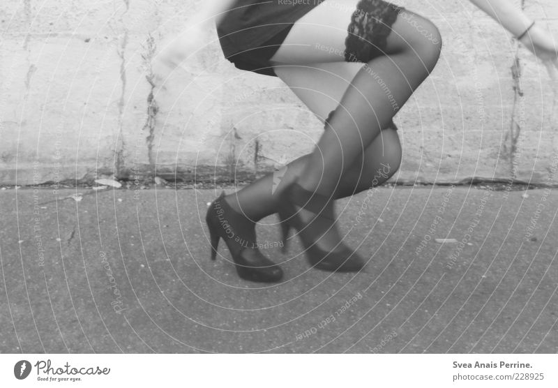 jump. Feminine Young woman Youth (Young adults) Bottom Legs Feet 1 Human being 18 - 30 years Adults Wall (barrier) Wall (building) Fashion Tights Underwear