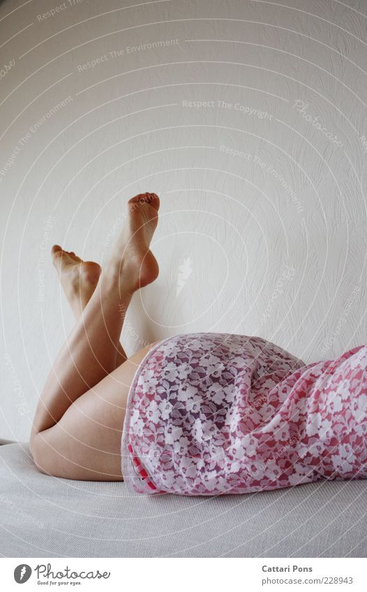 pink Human being Feminine Young woman Youth (Young adults) Bottom Legs Feet 1 Lie Brash Cute Pink Wait Partially visible Barefoot Couch Neutral Background