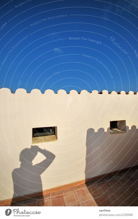 Sky Blue Summer Window Wall (building) Brown Tile Beautiful weather Plaster Terrace Photographer Take a photo Mediterranean Terracotta Undulation