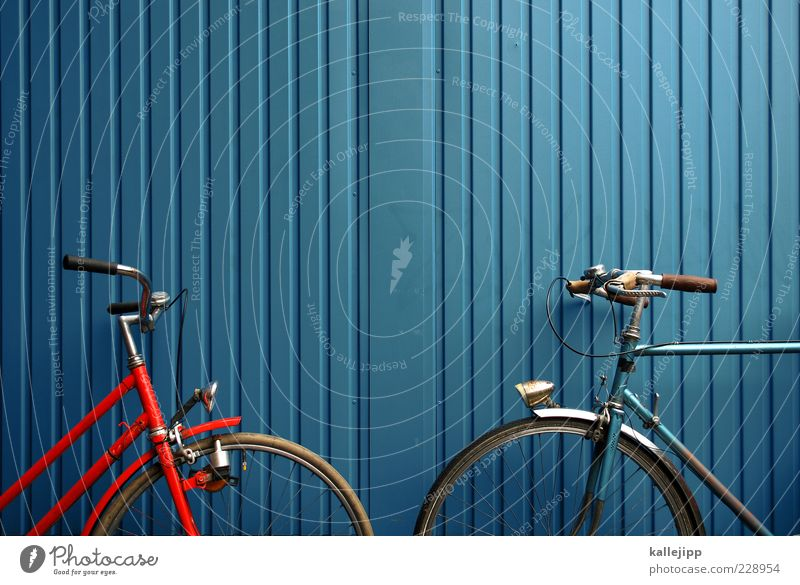 regular service Means of transport Bicycle Nostalgia Sustainability Container Blue Orange Contrast Line Colour photo Multicoloured Exterior shot Deserted