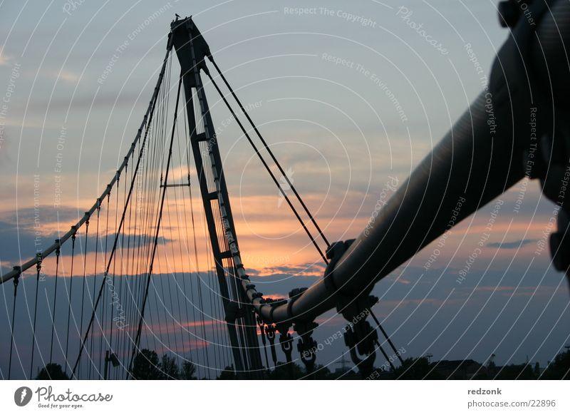 bridge Aspire Pedestrian Twilight Steel Magdeburg Bridge Intersection Sky Metal Silhouette Cable