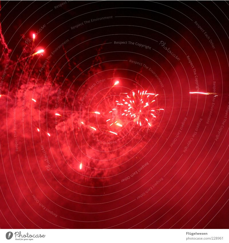 Sky Beautiful Red Bright Feasts & Celebrations Fog New Year's Eve Smoke Firecracker Illuminate Night sky Night Tracer path Night shot Pyrotechnics