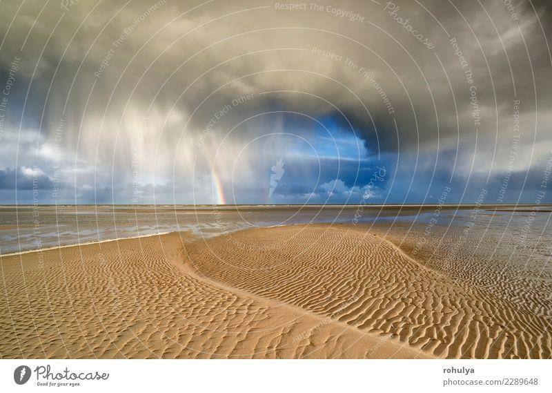 storm cloud and rainbow on sand North sea beach Sky Nature Vacation & Travel Blue Landscape Ocean Clouds Beach Coast Rain Horizon Weather Waves Vantage point