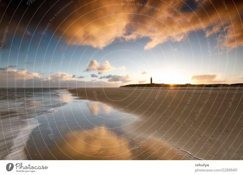 sunrise on North sea coast with lighthouse, Texel Sky Nature Landscape Sun Ocean Clouds Beach Coast Sand Waves Vantage point Happiness Beautiful weather Hope