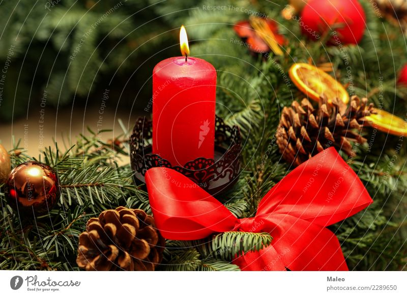 Advent Christmas & Advent 4 Candle Christmas Fair Decoration December Feasts & Celebrations Festive Flame Happiness Happy Green Background picture New Red
