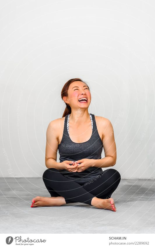 Yoga students showing different yoga poses. Woman Human being Youth (Young adults) Young woman Beautiful Relaxation Joy 18 - 30 years Adults Lifestyle Emotions