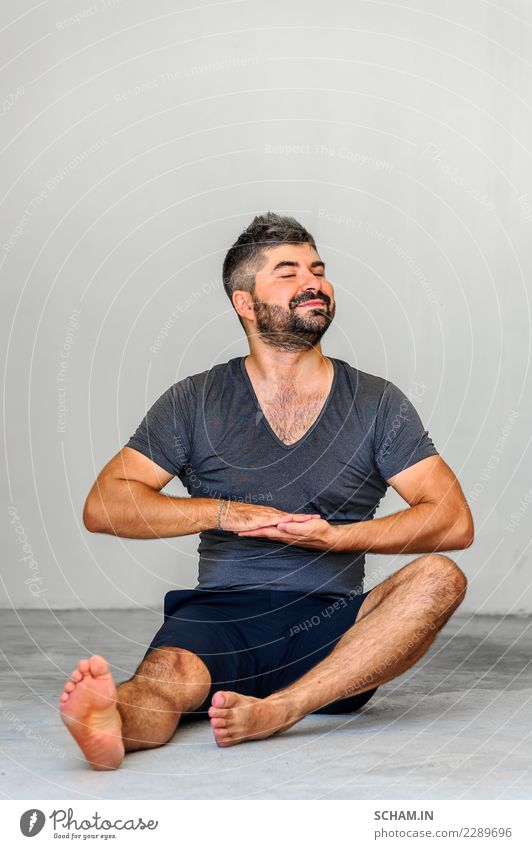 Yoga students showing different yoga poses. Lifestyle Relaxation Calm Meditation Human being Masculine Man Adults 1 30 - 45 years Black-haired Facial hair Beard