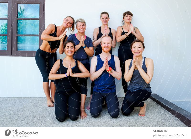 Female yoga students and their yoga teacher. Lifestyle Relaxation Sports Yoga Adults Group Sit Uniqueness Identity Yin Yang Yoga education adults only Balance