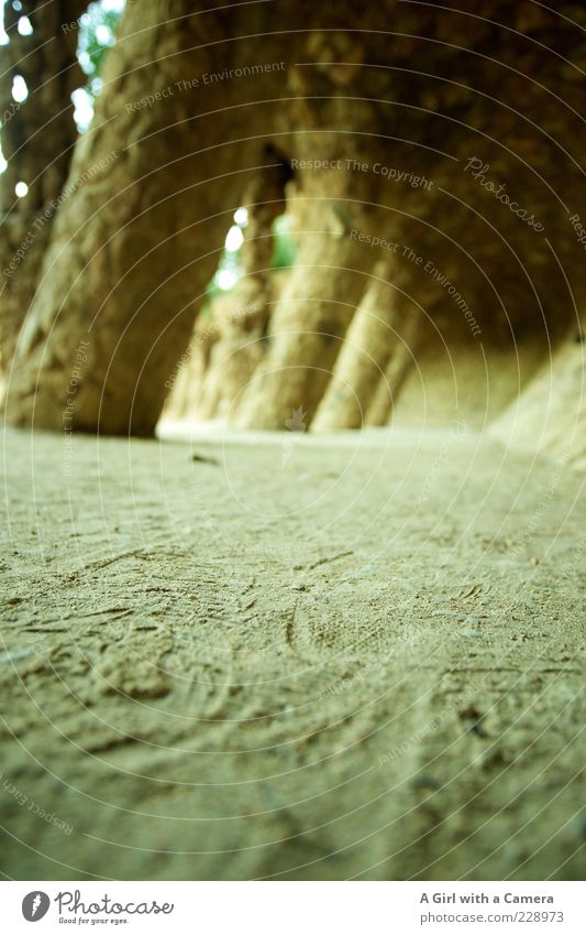 Sand Stone Ground Tracks Sightseeing Tourist Attraction Barcelona Arch Colonnades Güell Park