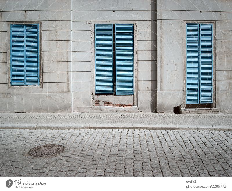 Old Blue House (Residential Structure) Window Street Wall (building) Wood Building Wall (barrier) Stone Gray Facade Metal Gloomy Closed Historic