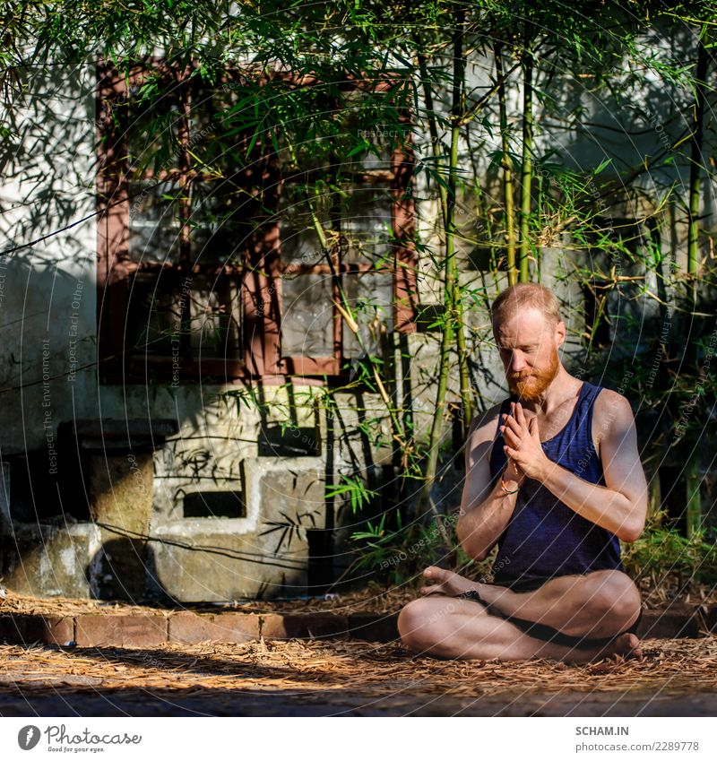 Red hair man with a red beard showing the lotus pose Human being Man Relaxation Calm Adults Lifestyle Masculine Dream Meditative Idyll Sit Wait Uniqueness