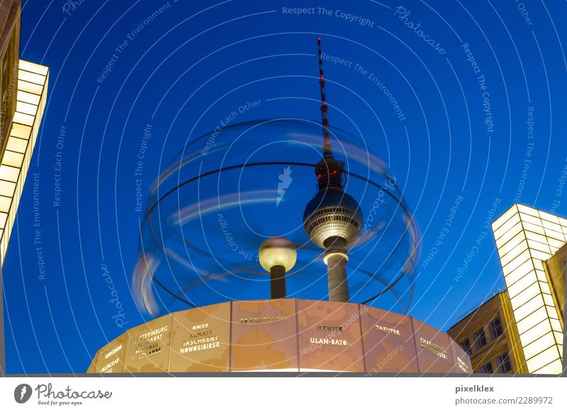 ROTATION Tourism Sightseeing City trip Night life Clock Architecture Night sky Berlin Downtown Berlin Germany Europe Town Capital city Tower Manmade structures