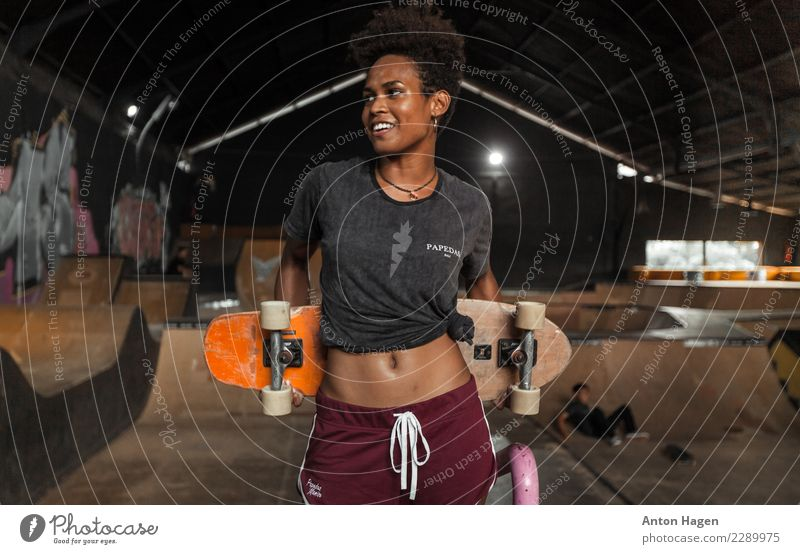 Girls just want to have skate Sports Halfpipe Afro Happy Skateboard Skateboarding Ice-skating Skater circuit Asians Indonesian Graffiti City life Subculture