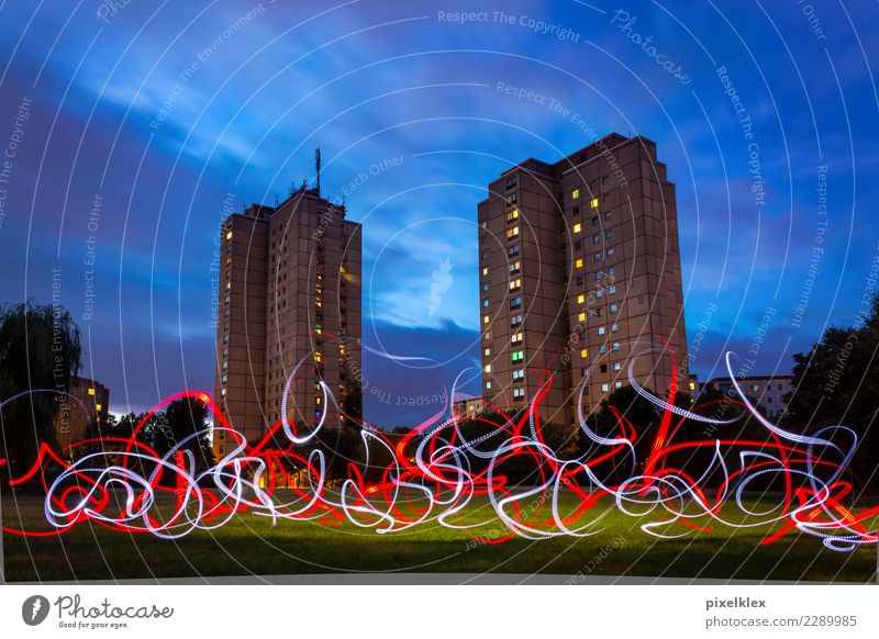 prefabricated building with Lightpainting Berlin Germany Europe Town Capital city House (Residential Structure) High-rise Park Building Architecture