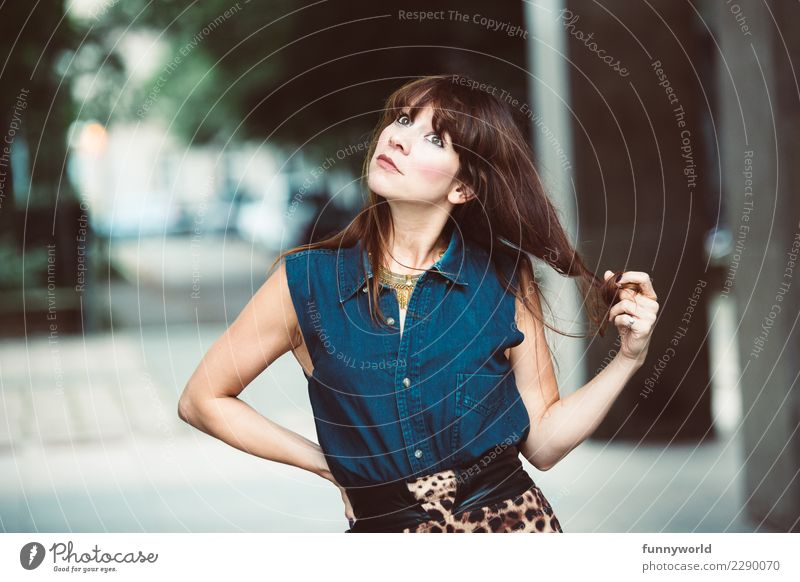The Hair Twister Human being Feminine Woman Adults 1 30 - 45 years Fashion Clothing Pelt Denim Belt Blouse Hair and hairstyles Brunette Long-haired Bangs