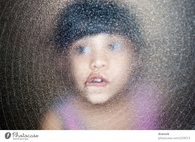 O_o Child Girl Infancy Youth (Young adults) Face 1 Human being 3 - 8 years Window Glass Looking Dark Creepy Funny Crazy Surprise Fear Horror Bizarre