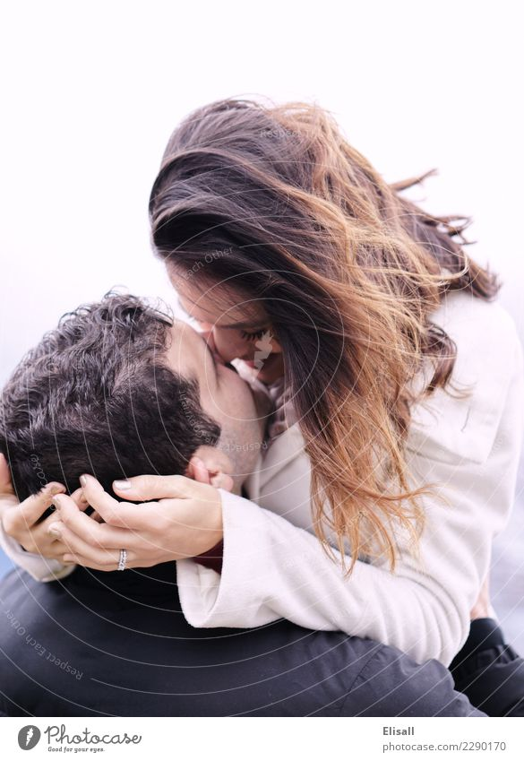 Happy Couple Embrace Human being Youth (Young adults) Young woman Young man Joy Winter Love Emotions Together Happiness Wind Passion Euphoria Partner