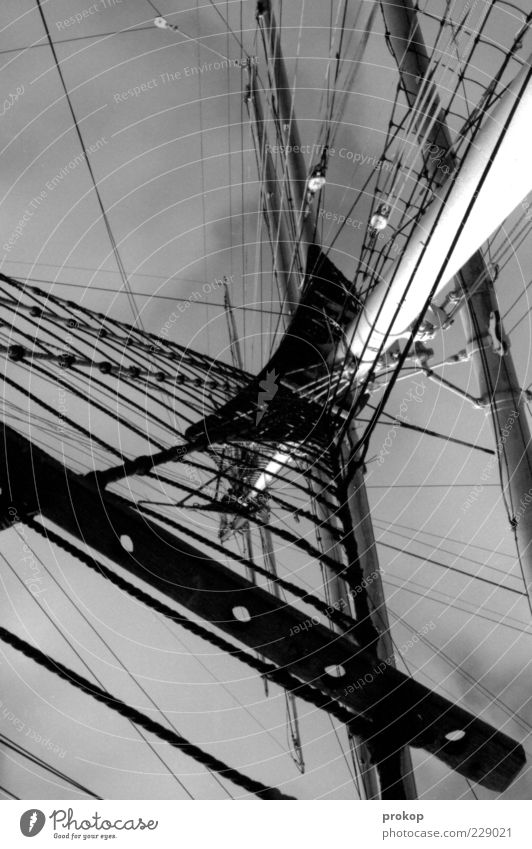 rig Sky Clouds Sharp-edged Firm Infinity Tall Wild Watercraft Sailing ship Mast Rope Black & white photo Exterior shot Deserted Day Light Shadow Contrast