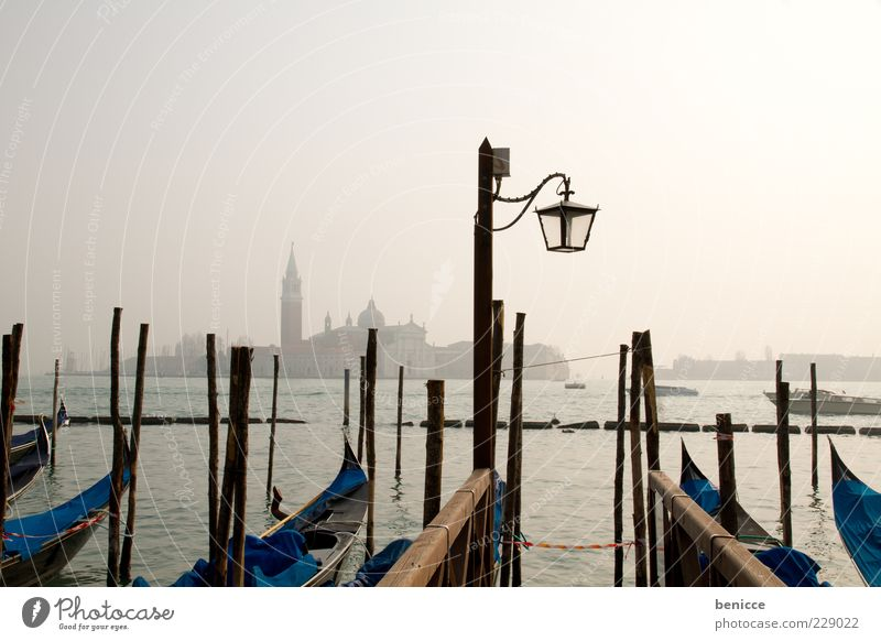 Clouds Calm Skyline Lantern Street lighting Landmark Jetty Holy Tourist Attraction Haze Venice Dreary Covered Italy Gondola (Boat) Watercraft