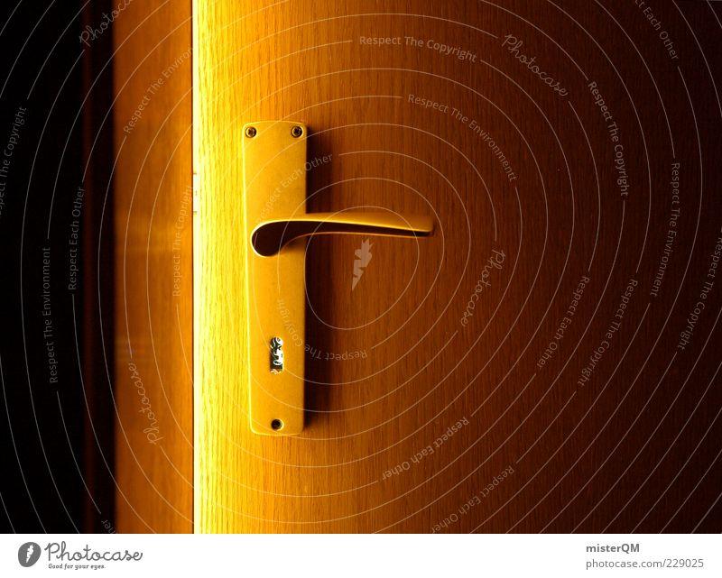 Dark Wood Door Gold Closed Esthetic Curiosity Symbols and metaphors Mysterious Entrance Key Door handle Column Hidden Flare Front door