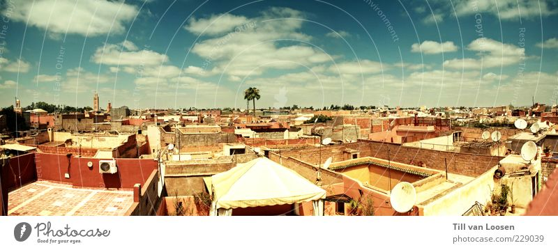 Marrakesh Roofs Environment Sky Clouds Building Wall (barrier) Wall (building) Facade Balcony Terrace Emotions Moody Authentic Wanderlust Esthetic Colour photo