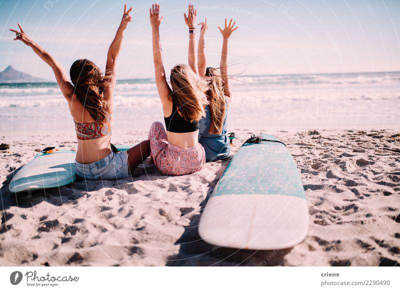 Happy millennial friends cheering on the beach Lifestyle Joy Leisure and hobbies Vacation & Travel Freedom Summer Summer vacation Sun Beach Ocean Feminine