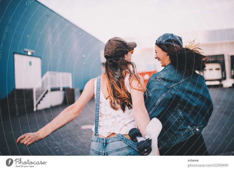 Young hipster friends having fun together Joy Happy Feminine Woman Adults Friendship 2 Human being Smiling Laughter Scream Brash Together Emotions Relationship