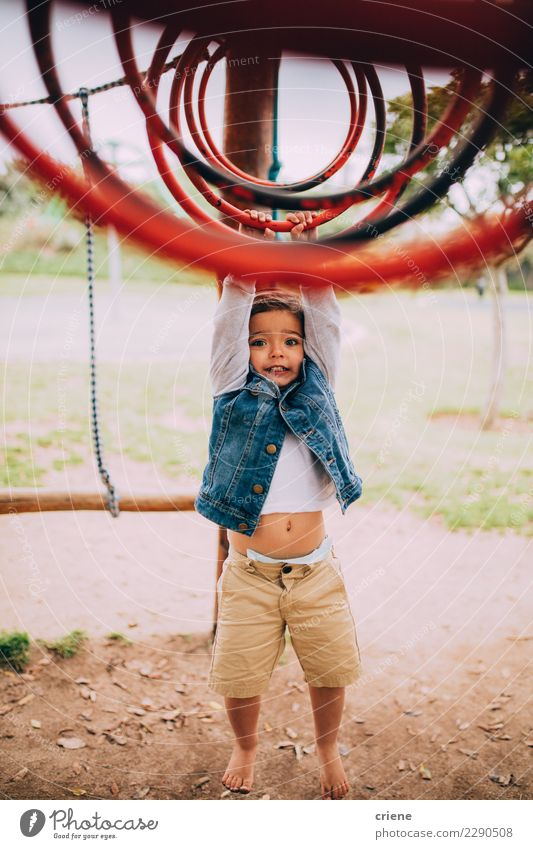 Cute toddler boy having fun playing on playground Lifestyle Joy Relaxation Leisure and hobbies Child Toddler Boy (child) Infancy Park Playground Hanging