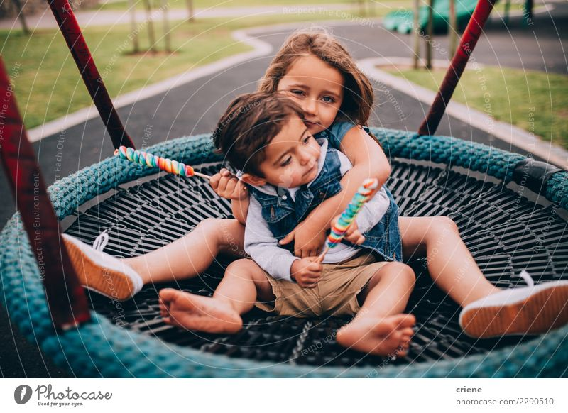Adorable toddler siblings hugging each other on swing Playing Child Human being Toddler Sister Family & Relations Infancy 2 Playground Love Embrace Emotions