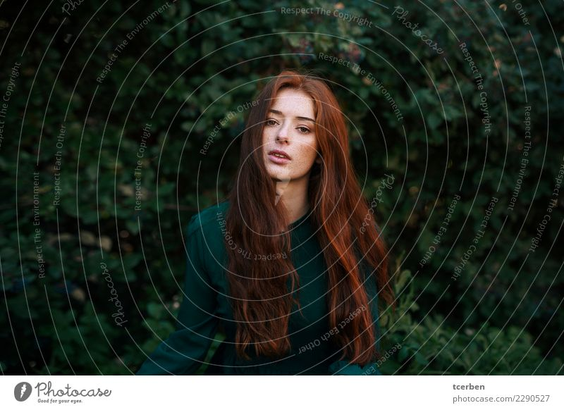 Portrait of a redhead woman with long hair and freckles Feminine Young woman Youth (Young adults) 1 Human being 18 - 30 years Adults Garden Park Fashion Dress