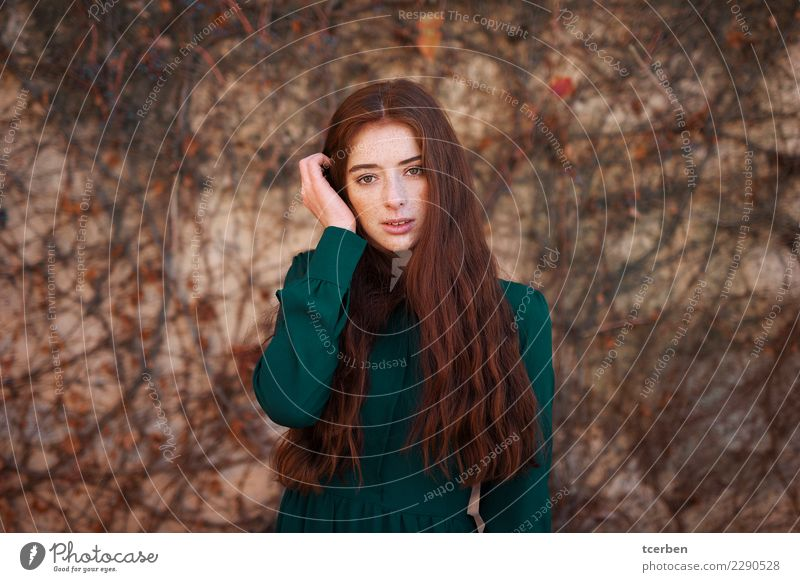 Portrait of a redhead woman with long hair and freckles Young woman Youth (Young adults) Woman Adults 1 Human being 18 - 30 years Autumn Wall (barrier)