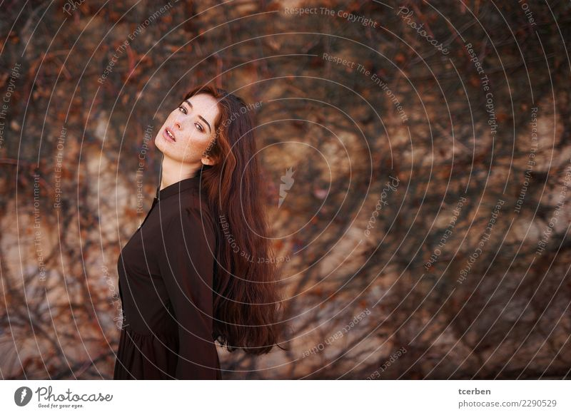 Portrait of redhead woman with long hair and freckles Human being Youth (Young adults) Old Young woman Beautiful Loneliness Calm 18 - 30 years Adults