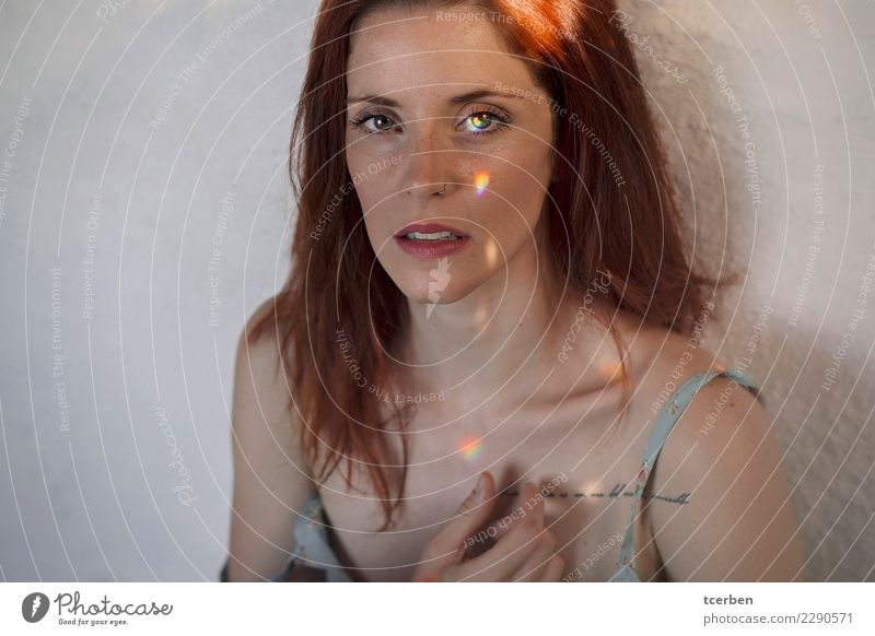 Portrait of redhead woman with rainbow light on eyes and face Human being Youth (Young adults) Young woman Beautiful Colour Loneliness Calm 18 - 30 years Face