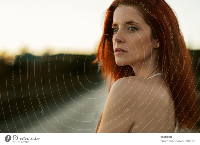 Close up portrait of redhead woman with melancholic look Human being Youth (Young adults) Young woman Beautiful Loneliness Calm 18 - 30 years Adults Sadness