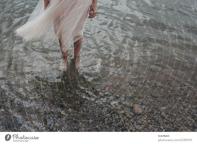 Woman legs inside a lake with dancer dress moving with the wind Lifestyle Feminine Legs Feet 1 Human being 18 - 30 years Youth (Young adults) Adults Nature