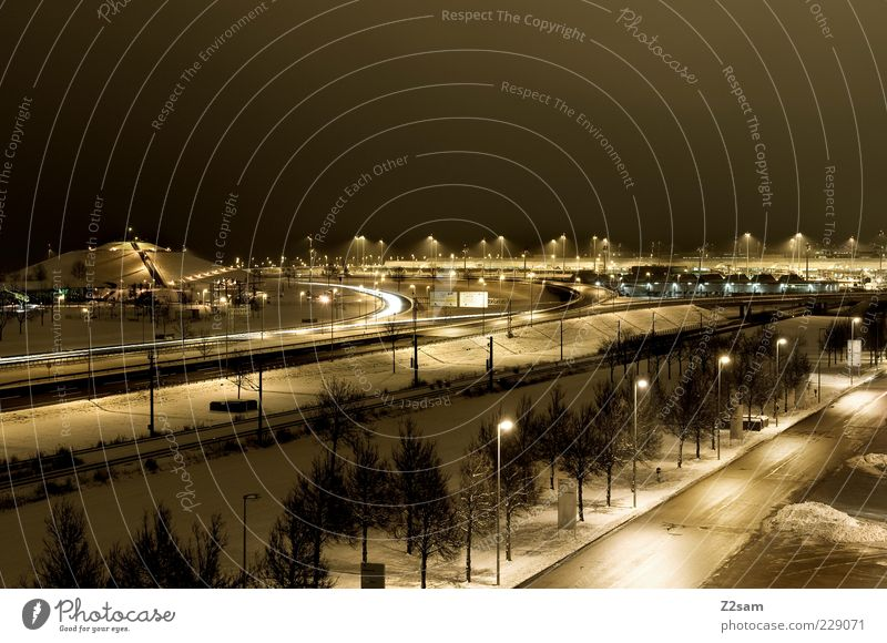 many roads lead to rom Winter Ice Frost Skyline Park Traffic infrastructure Road traffic Street Highway Esthetic Dark Gigantic Infinity Cold Modern Town Yellow