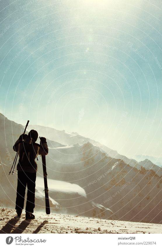 Man Nature Winter Far-off places Freedom Mountain Wind Adventure Skiing Level Alps Peak Austria Snowscape Glacier Winter sports