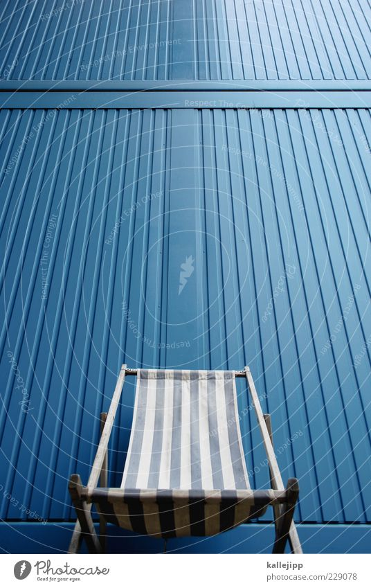 Blue Relaxation Wall (building) Leisure and hobbies Design Lie Empty Lifestyle Stripe Chair Deckchair