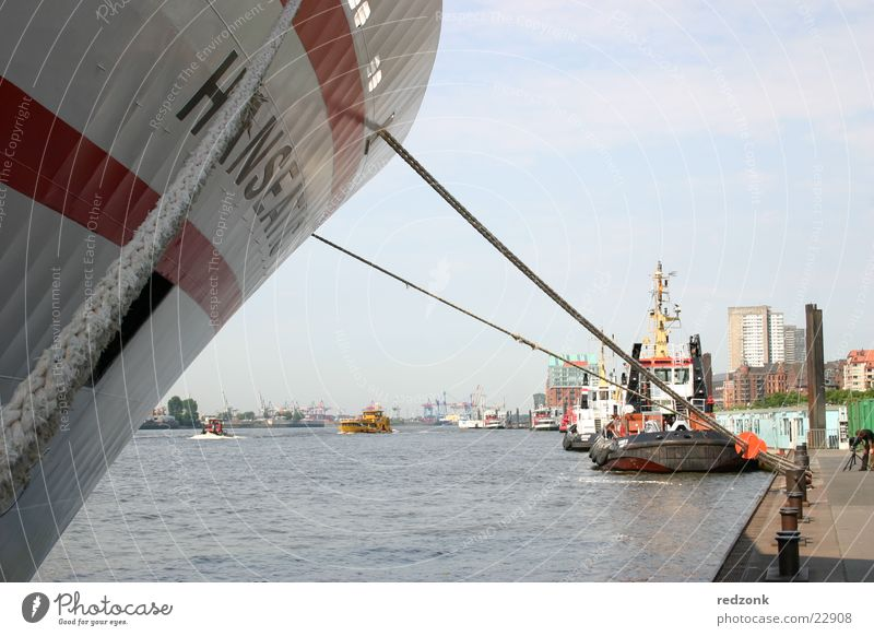 Port of Hamburg Cruise Ocean Water Harbour Navigation Steamer Watercraft Blue Jetty Mole Colour photo Exterior shot Day