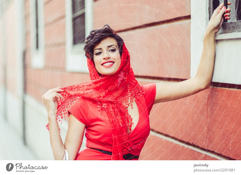 Woman, vintage style, in urban background, wearing a red dress Elegant Style Design Beautiful Summer Human being Feminine Young woman Youth (Young adults)