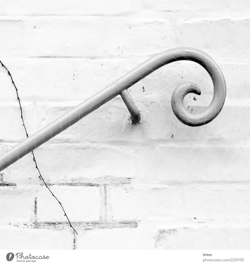 handbag holder Wall (barrier) Wall (building) Stairs Facade Decoration Stone Steel Uniqueness Elegant Help Art Nostalgia Precision Safety Banister White Round